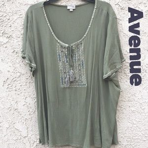 Avenue Womens Plus Size Green Embroidered Blouse